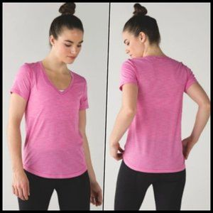 Lululemon V-neck What The Sport Pink Tee 4